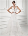 Show details for Organza Ivory Halter Empire Waist Wedding Dresses With Organza Layered