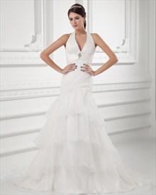 Organza Ivory Halter Empire Waist Wedding Dresses With Organza Layered