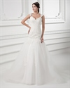 Show details for Ivory A Line Dropped Waist Lace Bodice Tulle Skirt Wedding Dress