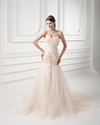 Show details for Champagne Strapless A Line Dropped Wedding Dress With Flower Petals