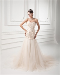 Champagne Strapless A Line Dropped Wedding Dress With Flower Petals