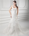 Show details for Ivory One Shoulder Flower Strap Wedding Dress With Organza Layered