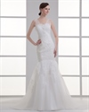 Show details for Ivory V-Neck Lace Applique Mermaid Wedding Dress With Sheer Skirt