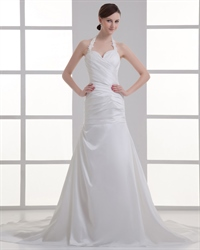 Ivory Halter Neck A-Line Sweep Train Wedding Dresses With Ruching