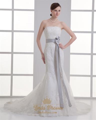 Ivory Strapless Lace Sweep Train Mermaid Wedding Dress With Grey Sash