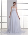 Show details for White A Line Sweetheart Chiffon Beach Wedding Dress With Gold Embroidery