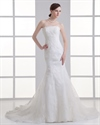 Show details for Ivory Strapless Mermaid Wedding Dresses With Lace Appliques