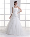Show details for Ivory One Shoulder Flower Strap A Line Wedding Dresses With Ruching