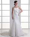 Ivory Mermaid Strapless Lace Empire Wedding Dresses With Long Train