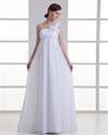 Show details for White Chiffon One Shoulder Flower Strap Empire Waist Wedding Dresses