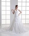 Show details for Ivory A-Line V-Neck Taffeta Wedding Dress With Floral Appliques