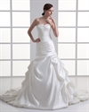 Show details for Ivory Satin Vintage Strapless Sweetheart Wedding Dress With Pick Ups