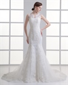 Show details for Ivory Mermaid Lace Illusion Neckline Wedding Dress For Petite Brides