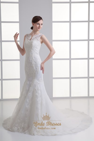 Ivory Mermaid Lace Illusion Neckline Wedding Dress For Petite Brides