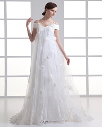 Ivory Tulle Spaghetti Strap V Neck Wedding Dress With Floral Appliques