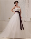 Show details for Ivory Sweetheart Dropped Waist Tulle Wedding Dress With Purple Sash