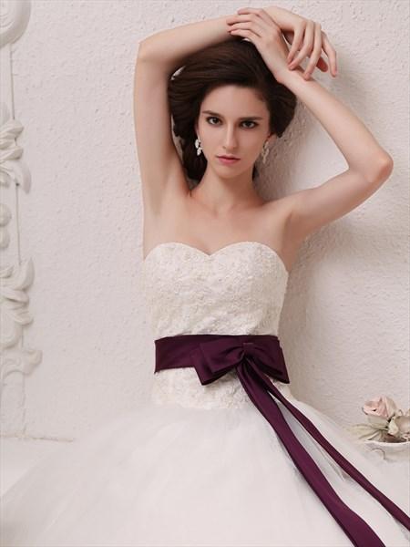 Ivory Sweetheart Dropped Waist Tulle Wedding Dress With Purple Sash