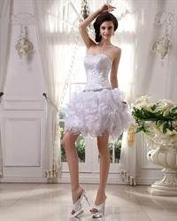Short White Strapless Ruffled Skirt Wedding Dresses With Beaded Bodice