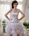 Show details for Short White Strapless Ruffled Skirt Wedding Dresses With Beaded Bodice