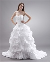 Show details for White Taffeta Pick Up Sweetheart Strapless Wedding Gown With Embroidery
