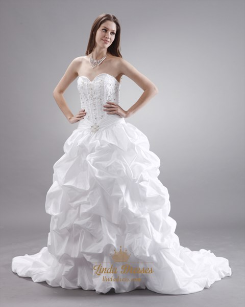White Taffeta Pick Up Sweetheart Strapless Wedding Gown With Embroidery