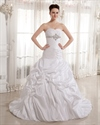 Show details for Ivory Sweetheart Strapless Taffeta Pick Up Wedding Dress With Beading