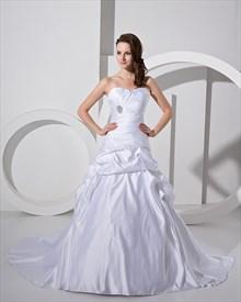 White Sweetheart Strapless Satin Pickup Wedding Dress With Beaded Detail