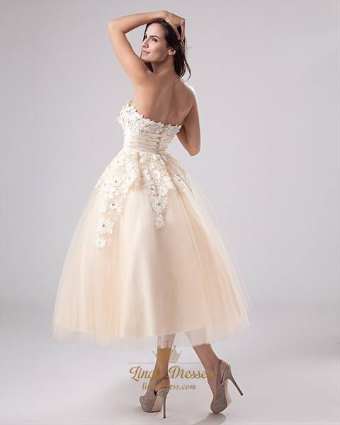 Champagne Tea Length Strapless Tulle Wedding Dress With Lace Overlay