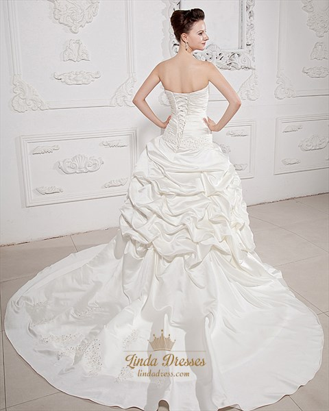 Ivory Sweetheart Satin Aline Pick Ups Wedding Dress With Beaded Applique