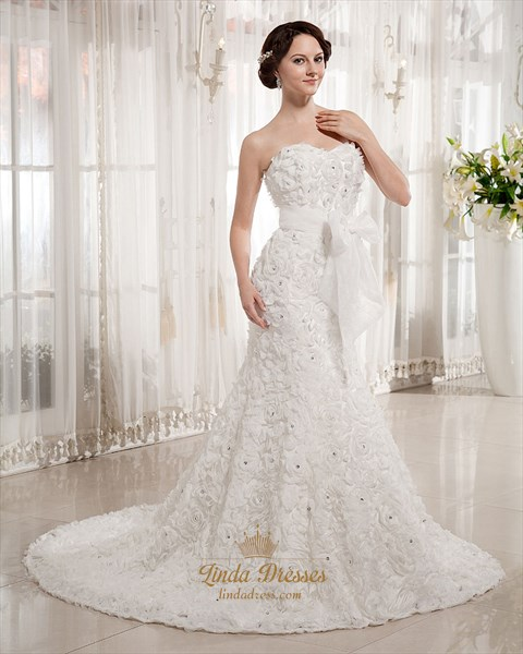 Show details for Ivory Sweetheart Strapless Rosette Wedding Dresses With Beading
