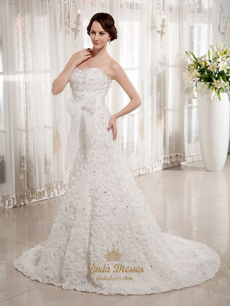 Ivory Sweetheart Strapless Rosette Wedding Dresses With Beading