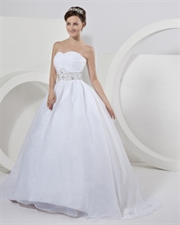 White Organza Ball Gown Strapless Wedding Dresses With Gold Beading