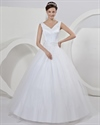 Show details for Ivory Tulle A Line Princess V Neck Wedding Dress With Pearl Beading