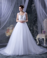 White A Line Tulle Sweep Train Wedding Dress With Beading Embellishment
