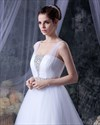 Show details for White A Line Tulle Sweep Train Wedding Dress With Beading Embellishment