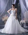 Show details for Ivory Organza Sweetheart Strapless Wedding Dress With Gold Embroidery