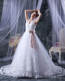 White Lace A Line Halter Chapel Train Wedding Dress With Pink Sash