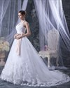 Show details for White Lace A Line Halter Chapel Train Wedding Dress With Pink Sash