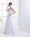 Show details for White Jewel Neckline Chiffon Beach Wedding Dress With Beaded Embroidery