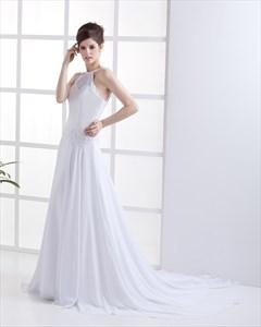 White Jewel Neckline Chiffon Beach Wedding Dress With Beaded Embroidery