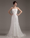 Show details for Vintage Ivory Lace Strapless Sheath Wedding Dress With Beaded Belt