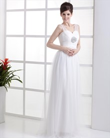 Elegant Simple Ivory Tulle Empire Waist Wedding Dress With Beading