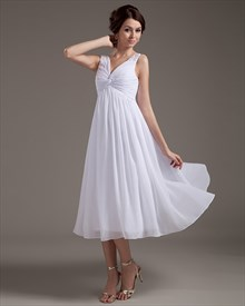 White V Neck Tea Length Chiffon Wedding Dress With Beaded Straps
