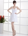 Show details for Short White V Neck Spaghetti Strap Lace Wedding Dress For Beach