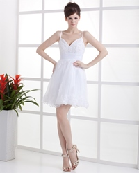 Short White V Neck Spaghetti Strap Lace Wedding Dress For Beach