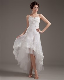 Ivory Organza Lace Applique Spaghetti Strap High Low Wedding Dress