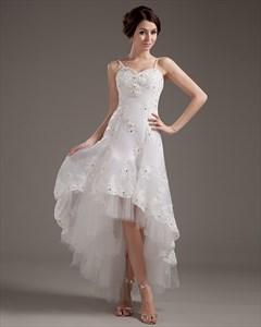 Ivory Organza Lace Applique Spaghetti Strap High Low Wedding Dress