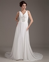 Show details for Ivory Chiffon Beach A Line V Neck Watteau Wedding Dress With Beading