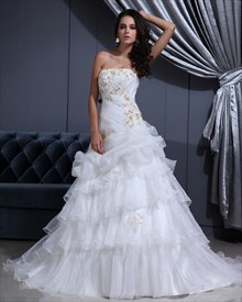 White Strapless Organza Layered Skirt Wedding Dress With Gold Embroidery