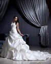 Show details for Ivory V Neck Pick Ups A Line Satin Wedding Dress With Flower Detail
